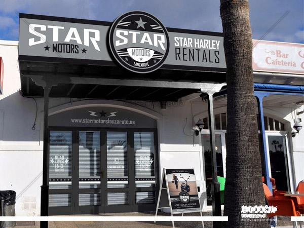 star motors -rotulo en marquesina